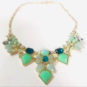 🆕 Green Resin Gem Crystal Statement Necklace